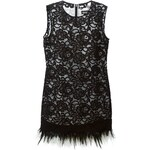 Dkny Ostrich Feather Hem Lace Dress