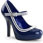 PIN UP Couture DÁMSKÉ LODIČKY RETRO Secret 15 modré Patent velikost retro lodiček: 37/US7/UK4
