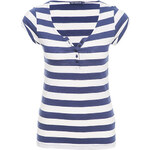 Terranova Striped grandad collar t-shirt