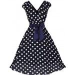 Retro šaty Lindy Bop Mary Ellen Navy Polka 38