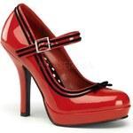PIN UP Couture DÁMSKÉ LODIČKY RETRO Secret 15 červené Patent velikost retro lodiček: 36/US6/UK3