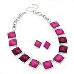 SET: Růžový náhrdelník a náušnice Sasie 29542