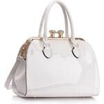 LS fashion LS dámská kabelka s kovovým rámem LS00378 bílá