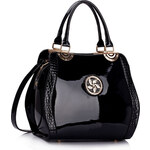 LS fashion LS dámská lakovaná kabelka LS00380 s broží černá