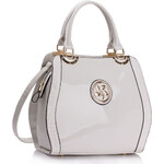 LS fashion LS dámská lakovaná kabelka LS00380 s broží bílá