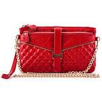 Mega Simple Genuine Leather Chain Crossbody Bag(Red)