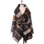 CHICWISH Dámský kabátek Check Rabato hnědý