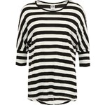 Černo-bílý proužkovaný oversized top Vero Moda Flora