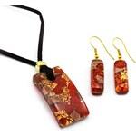 Murano Sada náhrdelník a náušnice - skleněný šperk - červená, zlatá - Paola 2