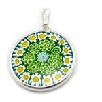 Murano Přívěsek skleněný - stříbro 925 - zelená, bílá, žlutá - Millefiori 23