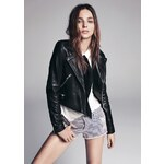 Mango Zippers leather biker jacket