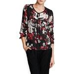 Mango Quilted shoulder floral blouse
