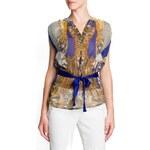 Mango Bow scarf print blouse