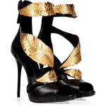 Giuseppe Zanotti Leather Sandals with Leaf Embellishment