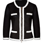 Moschino Cheap and Chic Cotton Knit Jacket with Contrast Trim