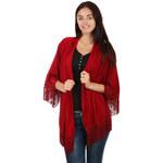 TopMode Volný svetřík, kardigan bez zapínání s třásněmi červená