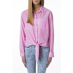 Tally Weijl Pink Chambray Tie Up Shirt