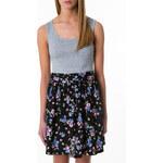 Tally Weijl Grey & Floral Print Contrast Dress