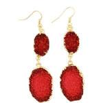 Lesara Ohrhänger mit roten Schmucksteinen