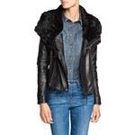 Mango Fur neck leather biker jacket