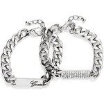 Guess Náramek Lia Silver-Tone ID Bracelet Set