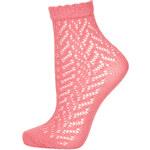 Topshop Pink Chevron Pointelle Ankle Socks