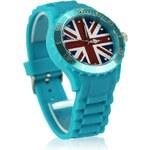 LS Fashion Tyrkysové hodinky s vlajkou Fashion Only W007 tyrkysová