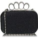 LS Fashion Luxusní černé kamínkové psaníčko s boxerem LSE00119 černá
