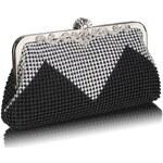 LS Fashion společenská kabelka LS0047 černá-stříbrná