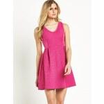 CLOSET Růžové skater šaty s perforací