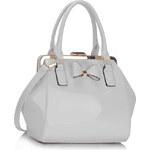 LS fashion LS dámská kabelka lakovaná s mašlí LS00258A bílá