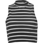 Essentials Funnel Neck Crop Top, black/white str