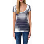 Tally Weijl Navy & White Round Neck Top