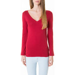 Tally Weijl Red Basic V-Neck Long Sleeve Top