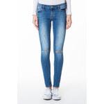 Tally Weijl Mittelblaue, hochgeschnittene Jeans mit Knie-Riss