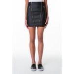 Tally Weijl Black Leather-Like Doube Zip Skirt