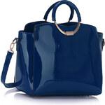 LS fashion LS dámská lakovaná kabelka se zlatým kováním LS00387 modrá