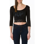 "Tally Weijl Black ""Dope"" Crop Top with Lace Hem"
