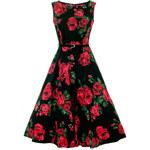 LADY VINTAGE Dámské šaty Hepburn Červená růže Velikost: 36