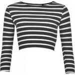 Essentials Three Quarter Crop Top Ladies, black/white str