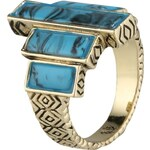 House of Harlow THE LONG RAIN STEPS Ring gold/turquoise