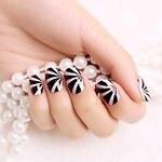 LightInTheBox 24PCS ABS Glamour Purple Stripe Full Cover Finger Nail Art Tips