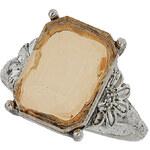 Topshop Rectangular Stone Flower Ring