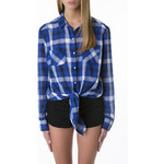 Tally Weijl Blue & White Check Tie Up Shirt