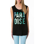 "Tally Weijl Black ""Paradise"" Metallic Top"