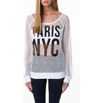 "Tally Weijl White ""Paris NYC"" Net Jumper"