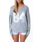 "Tally Weijl Grey ""84"" Sweater with Metallic Sleeves"