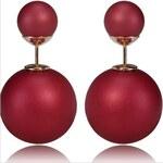 003 Naušnice oboustranné perly - tmavě červené