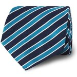 T.M.Lewin Navy Aqua Ribbon Stripe Silk Tie