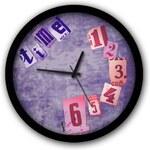 Fialové nástěnné hodiny Dogo Time